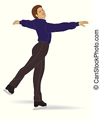 figure skating, male skater, in pose isolated on a white...