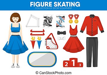 Figure skating sport equipment skater clothing garment accessory vector icons set