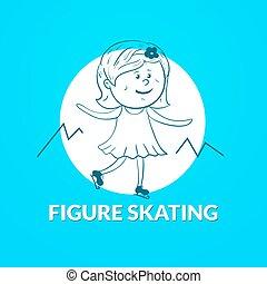 Figure skating vector logo
