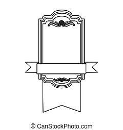 figure square emblem with ribbon icon
