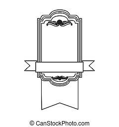 figure square emblem with ribbon icon