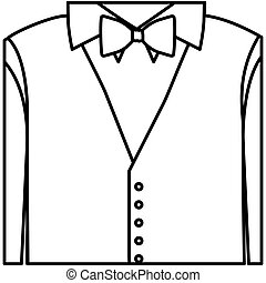 figure sticker shirt with bow tie and waistcoat