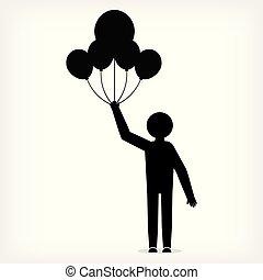 figure, stickman, tient, ballons célébration, vacances, homme