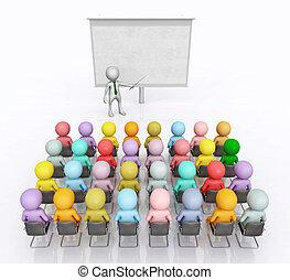 figure, studenti, conferenziere, salone, conferenza, 3d