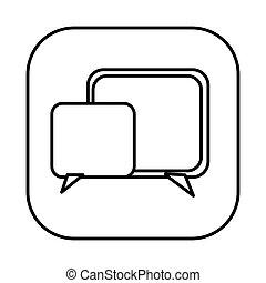 figure symbol square chat bubbles icon