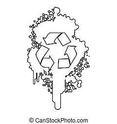 figure, symbole, pulvérisateurs, aérosol, recycler, tache, intérieur