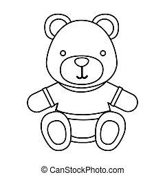 figure teddy bear with shirt icon