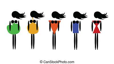 figure, tipi, femmina