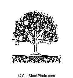 figure trees with some leaves icon