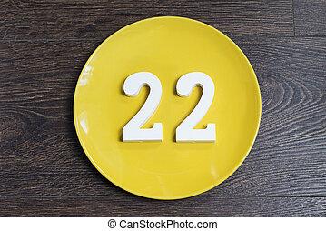 Figure twenty-two one-on-yellow plate.