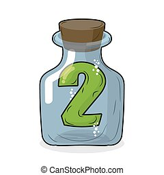 Figure two in laboratory bottle. Figure 2 in the magic bottle with a wooden lid. Research of two. Vector illustration