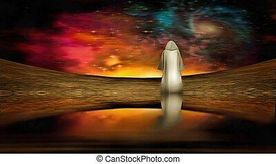 Figure under alien sky