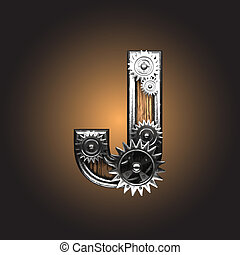 figure, vecteur, métal, gearwheels