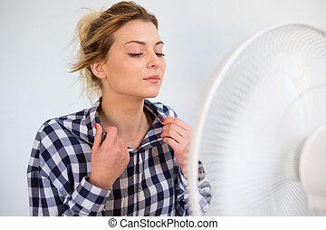 figure, ventilateur, devant, girl, expression