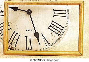 figure, vieux, horloge