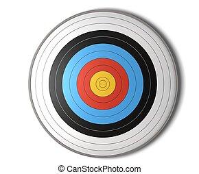 figure, vue, de, une, cible tir arc, sur, a, fond blanc, à,...