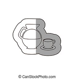 figure water pitcher with coffee cup and plate icon