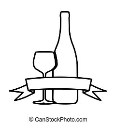 figure wine bottle with glass and ribbon icon