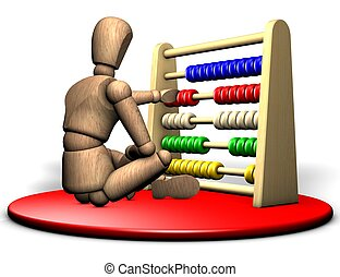 Figure with abacus - Somebody solves a complicated problem...