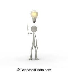 3D figure with enlightenment and bulb