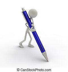 3D figure holding a pen in blue