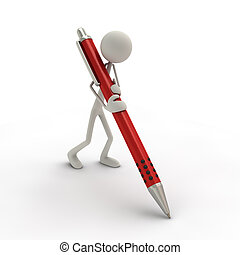 3D figure holding a pen in red