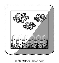 figure wood grid with cloud and grass icon