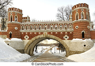 """Figured bridge in Moscow museum-reserve """"Tsaritsyno"""" in Russia"""