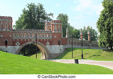 Figured bridge in Tsaritsyno. Moscow. Fragment.