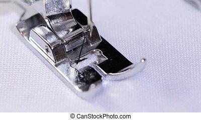 Figured zigzag stitch. Professional sewing machine. Close...