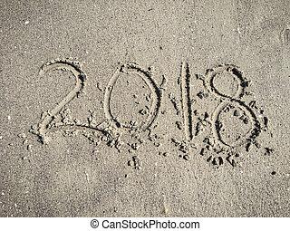figuren, 2018, op, nat zand