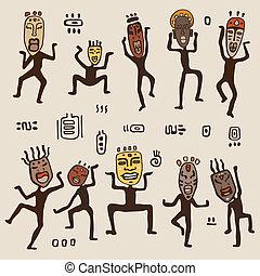 figuren, dancing, masks., vervelend, afrikaan