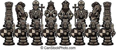 figuren, schwarz, schach, karikatur