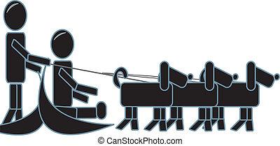 figuren, stok, sledding, dog