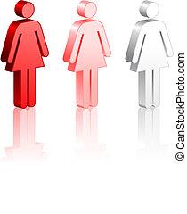 figuren, stok, vrouwlijk