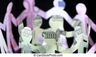 figuren, van, mensen, gemaakte van geld, bewaren, voor,...
