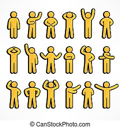 figuren, verzameling, gele, stok