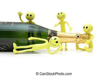 figuren, von, smiley, ungefähr, a, flasche champagner