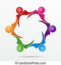 figuren2307b - abstract form as symbol for teamwork and...