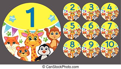 Figures 1 to 10 in a circle with animals