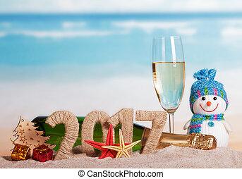Figures 2017 champagne bottle, glass, snowman, Christmas...