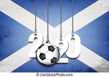 Figures 2020, soccer ball and Scotland flag