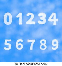 Figures and numbers on a background of blue sky with clouds