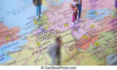 figures, beaucoup, placé, map., europe, gens