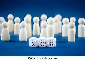 figures, concept, client, trois, différent, blocs bois, blanc, expressions, les, service, fond, satisfaction