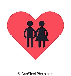 figures couple silhouettes in heart