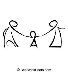 figures, crosse, famille, heureux