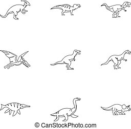 Figures dinosaur icons set, outline style - Figures dinosaur...