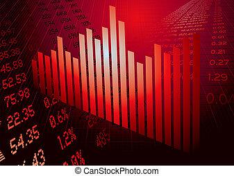 figures financières, graphique, rouges