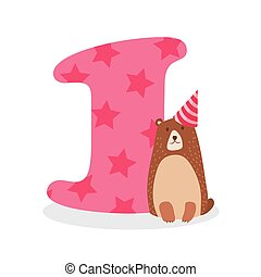 Figures for birthday isolated on white background, bear one. Vector.
